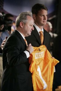 Lane Kiffin being introduced as Tennessee head coach.