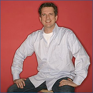 Bill Simmons: red background, blue streak.